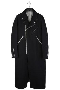 THE VIRIDI-ANNE Wool Biker Long Coat 1