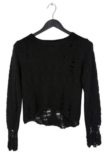 SONG FOR THE MUTE Distressed Cropped Knit Top black 1