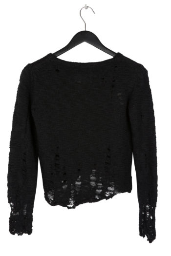 SONG FOR THE MUTE Distressed Cropped Knit Top black 3