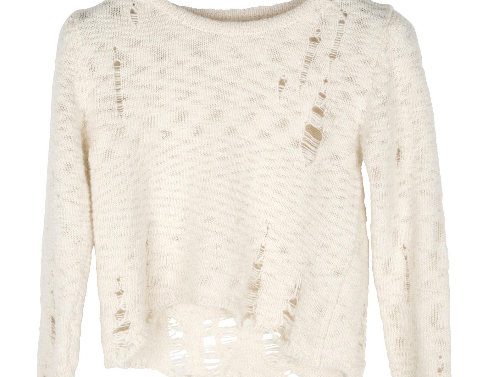 SONG FOR THE MUTE woman Distressed Cropped Knit Top ecru 1