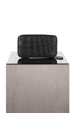 ISAAC SELLAM crocodile leather zip wallet 1