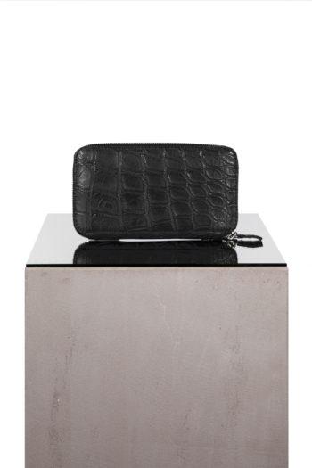 ISAAC SELLAM crocodile leather zip wallet 1