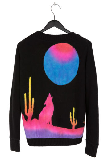 THE ELDER STATESMAN Intarsia BackPainted Wolf Sweater 2