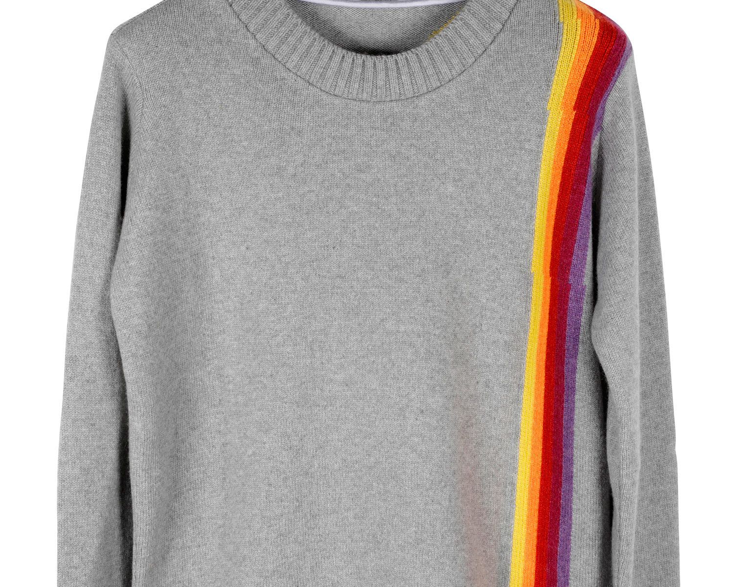 THE ELDER STATESMAN Intarsia Front Back Rainbow Sweater 01