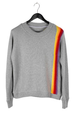 THE ELDER STATESMAN Intarsia Front Back Rainbow Sweater 01