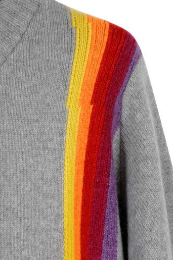 THE ELDER STATESMAN Intarsia Front Back Rainbow Sweater 02