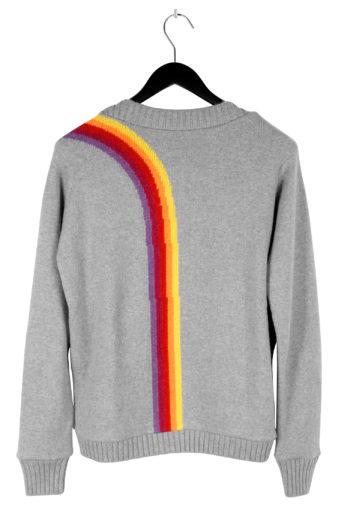 THE ELDER STATESMAN Intarsia Front Back Rainbow Sweater 03
