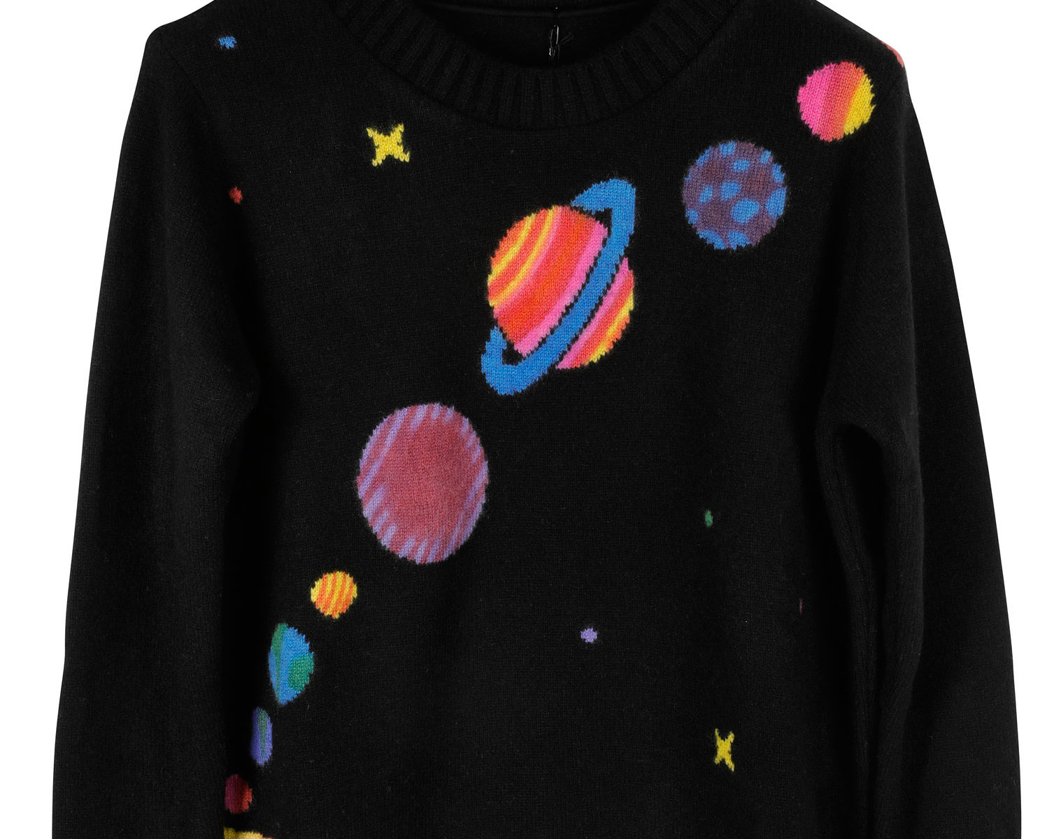 THE ELDER STATESMAN Intarsia Front Painted Solar System Sweater 01