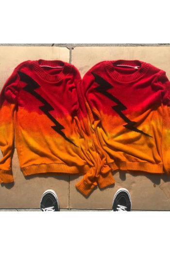THE ELDER STATESMAN Intarsia Gradient Dyed Front Painted Lightning Bolt Sweater 1