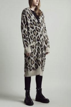 R13 Long Leopard Cashmere Cardigan 1