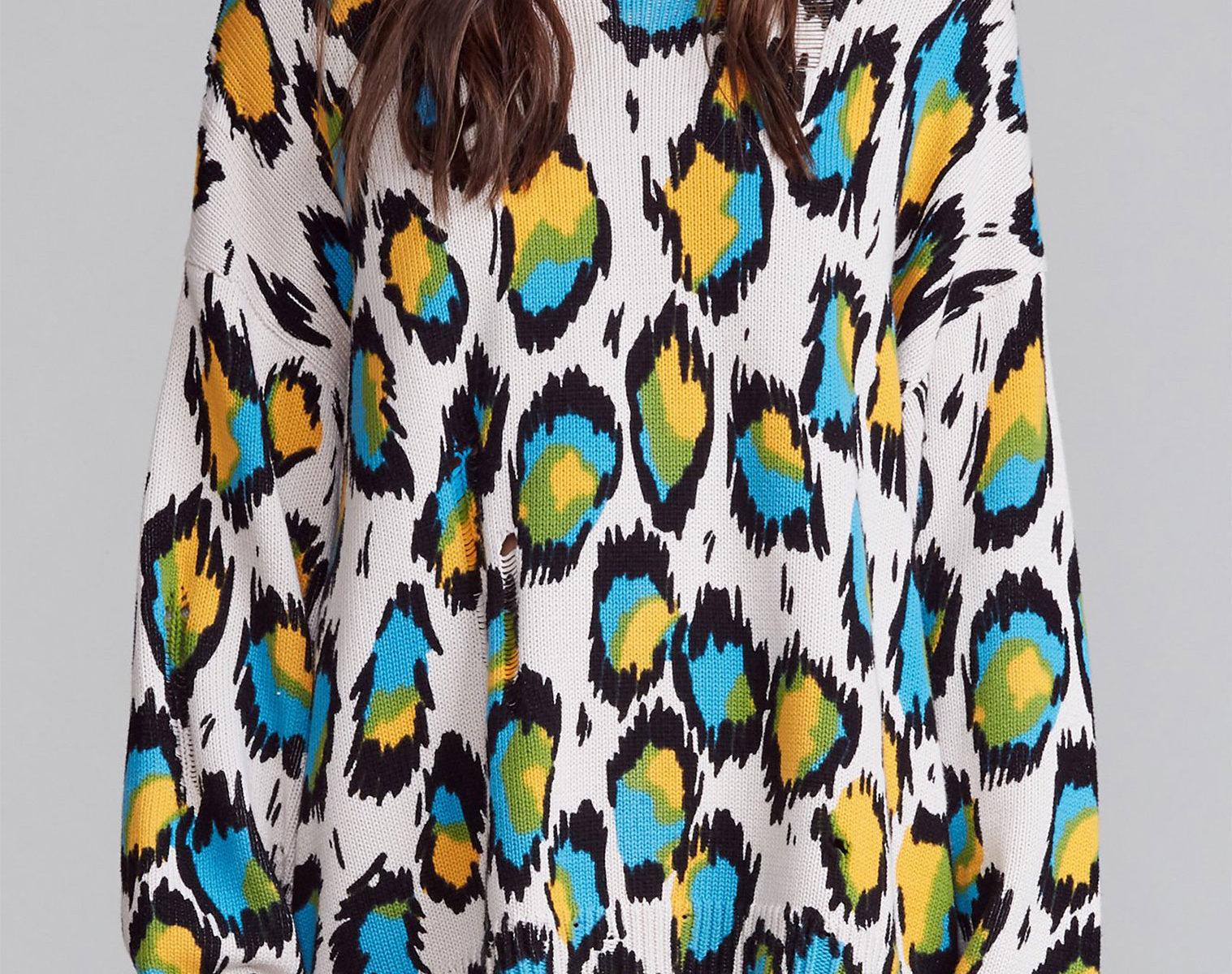 R13 Multicolour Leopard Oversized Sweater 1