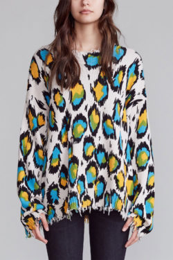 R13 Multicolour Leopard Oversized Sweater 1