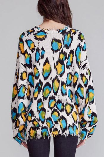 R13 Multicolour Leopard Oversized Sweater 2