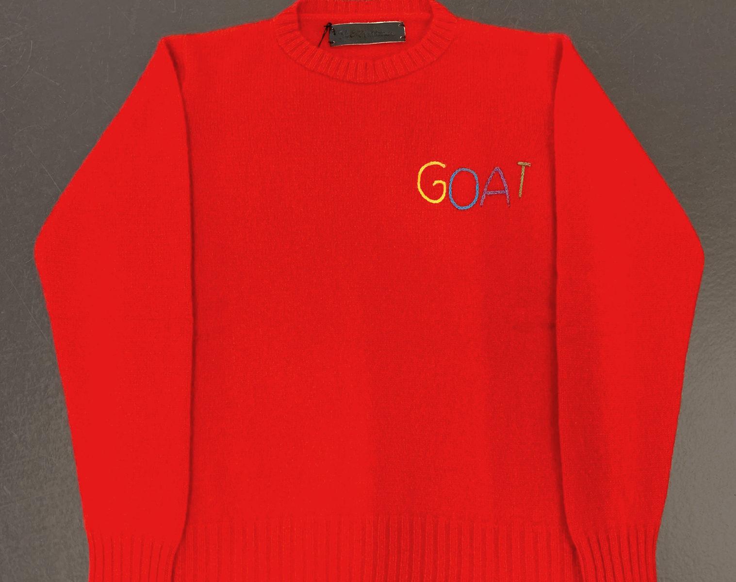 THE EDLER STATESMAN Goat Racing Crew Neck Sweater 1