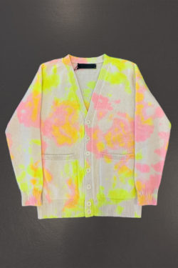 THE ELDER STATESMAN Pigment Dyed Dub Dot Heavy Cardigan 1
