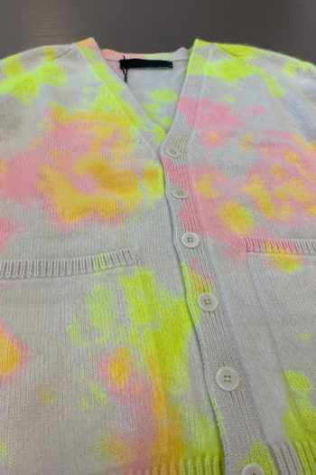 THE ELDER STATESMAN Pigment Dyed Dub Dot Heavy Cardigan 2