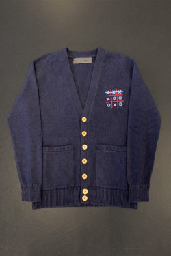 THE ELDER STATESMAN Tic Tac Toe Score Embroidered Cardigan 1