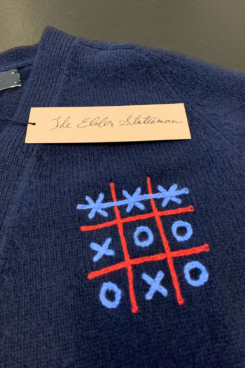 THE ELDER STATESMAN Tic Tac Toe Score Embroidered Cardigan 2