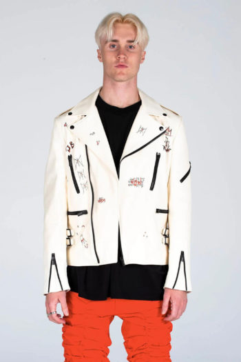 MJB Handpainted Classic Biker Leather Jacket 3