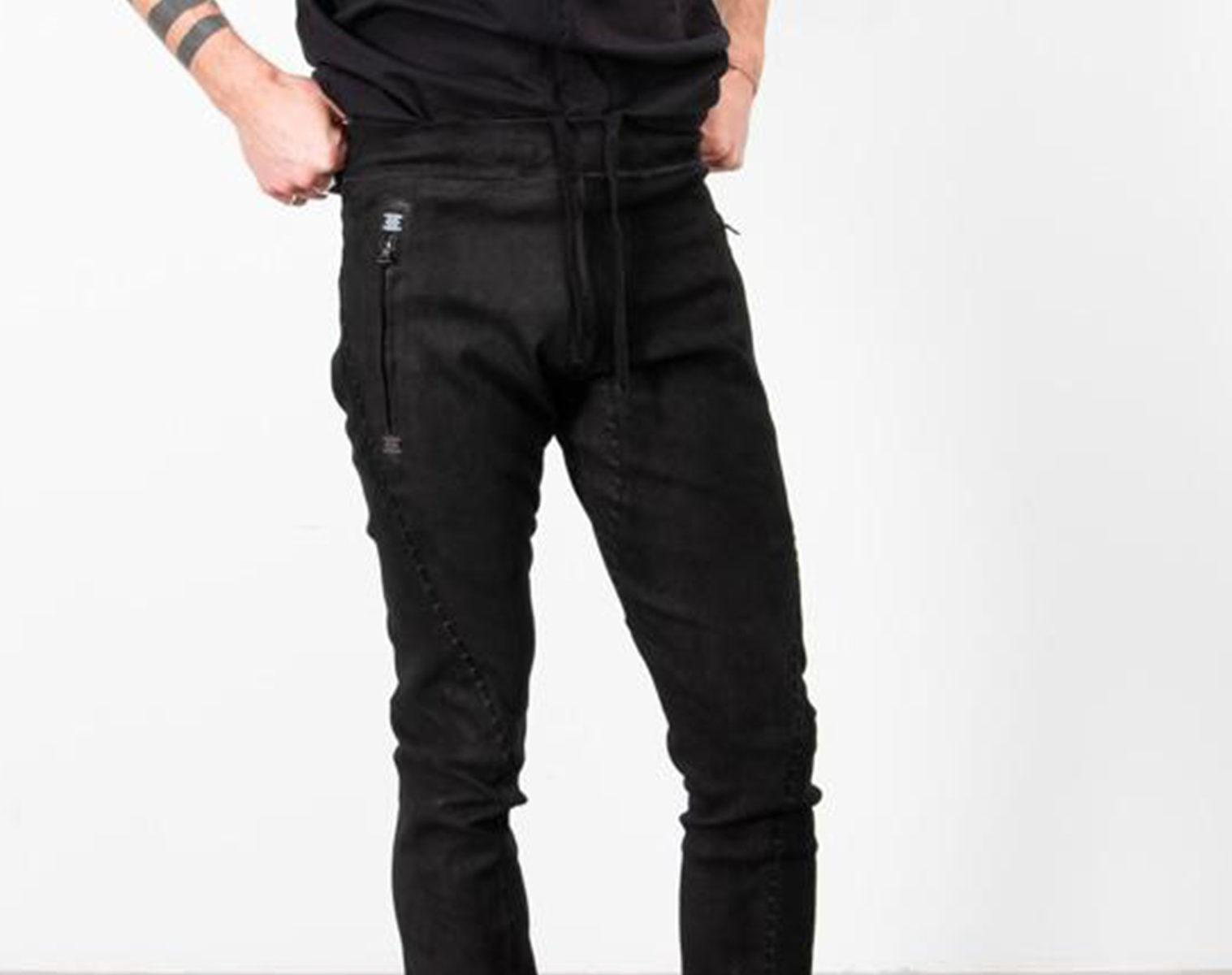ISAAC SELLAM Slim Leather Pants w Drawstring 1