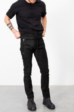 ISAAC SELLAM Slim Leather Pants w Drawstring 1