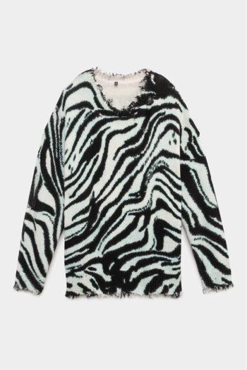 R13 Blue Zebra Oversized Sweater 1