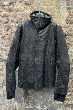 ISAAC SELLAM Padded High Neck Leather Jacket 1