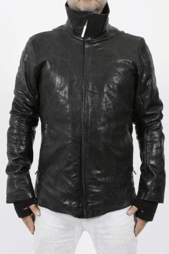 ISAAC SELLAM Padded High Neck Leather Jacket 3