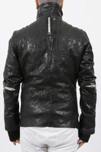 ISAAC SELLAM Padded High Neck Leather Jacket 4